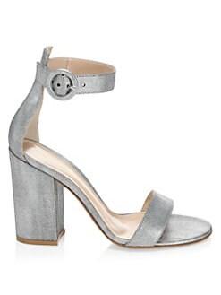 bc629ec90c QUICK VIEW. Gianvito Rossi. Metallic Leather Block-Heel Sandals
