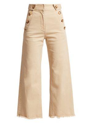 Derek Lam 10 Crosby Pants Wide-Leg Twill Crop Trousers