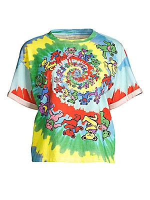 """Image of Classic cotton oversized tee finished with a playful graphic tie-dye print. Crewneck Short sleeves Pullover style Rolled cuffs Graphic printed front Cotton Machine wash Made in USA SIZE & FIT Oversized fit About 23.5"""" from shoulder to hem Model shown is 5"""