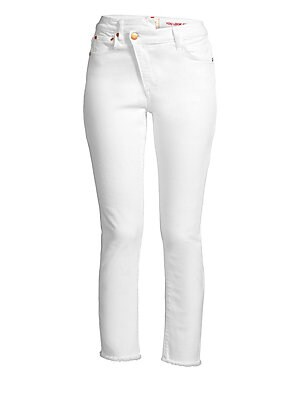Image of Crafted in a stretch-cotton, these raw hem jeans feature a unique wrapped waistband. Asymmetric waistband Belt loops Angled zip fly with button closure Five-pocket style Frayed hems Cotton/elastane Machine wash Made in USA of Italian fabric SIZE & FIT Cro