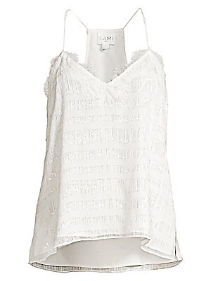 """Image of A languid silk racerback cami styled with delicate spaghetti straps and lacey trim. Plunging V-neck Sleeveless Spaghetti straps Pullover style Side vents Racerback Lined Silk Dry clean Imported SIZE & FIT About 26"""" from shoulder to hem Model shown is 5'10"""