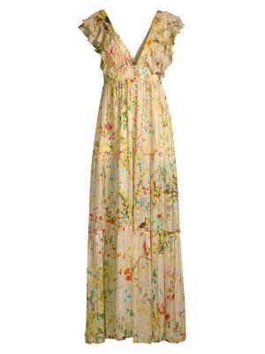 Hemant Amp Nandita Flutter Sleeve Floral Maxi Dress