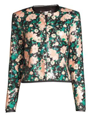 Rachel Zoe Jackets Abbie Print Sequin Collarless Jacket