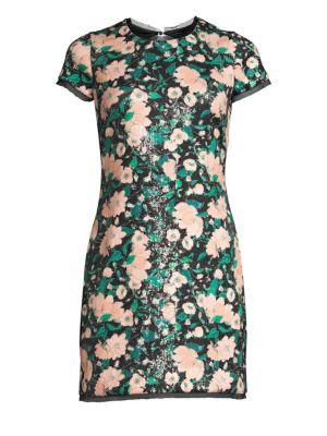 Rachel Zoe Dresses Sonia Floral Sequin Open Back Mini Dress