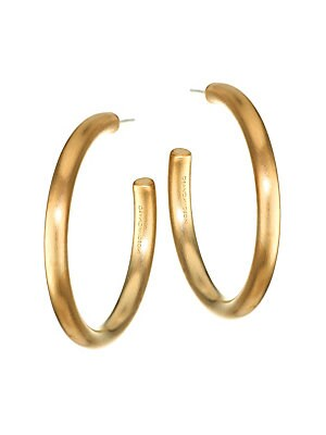 "Image of Brushed finish lends these hoop earrings a modern feel. 22K yellow goldplated brass Post back Made in Canada SIZE Drop, about 1.5"". Fashion Jewelry - Trend Jewelry. Dean Davidson. Color: Gold."