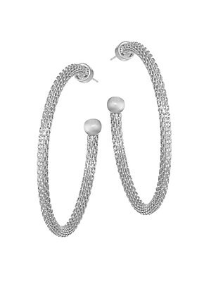 """Image of Beautifully detailed silvertone mesh hoops ending in a smooth ball. Rhodium-plated brass Post back Made in Canada SIZE Drop, 1.75"""". Fashion Jewelry - Trend Jewelry > Saks Fifth Avenue. Dean Davidson. Color: Silver."""
