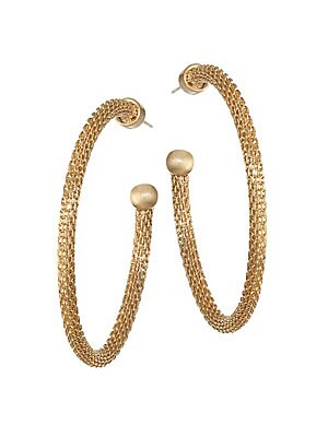 """Image of Beautifully detailed mesh hoops ending in a smooth ball. 22K gold-plated brass Post back Made in Canada SIZE Drop, 1.75"""". Fashion Jewelry - Trend Jewelry > Saks Fifth Avenue. Dean Davidson. Color: Gold."""