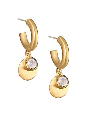 "Image of Charming hoop and drop combo earrings with rainbow moonstone accents. Rainbow moonstones 22K gold-plated brass Post back Made in Canada SIZE Drop, 1.25"". Fashion Jewelry - Trend Jewelry. Dean Davidson. Color: Gold."