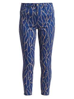 3f0081d7ec5 L Agence. Margot Chain-Print Skinny Jeans