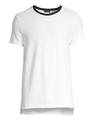 "Image of A contrast crewneck adds edge to this soft cotton tee. Crewneck Short sleeves Pullover style Cotton Hand wash Made in Peru SIZE & FIT Fitted silhouette About 28"" from shoulder to hem. Men Adv Contemp - Contemporary Tops > Saks Fifth Avenue. ATM Anthony Th"
