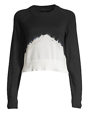 """Image of Lightweight ribbed cotton sweater with a graphic dip-dyed effect. Crewneck Long raglan sleeves Pullover style Rib-knit trim Cotton Machine wash Imported SIZE & FIT Regular fit About 31.5"""" from shoulder to hem Model shown is 5'10"""" (177cm) wearing US size S"""