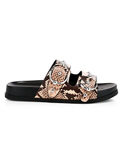 6c7aed486c05e Rebecca Minkoff. Vachel Too Snakeskin Print Leather Slide Sandals