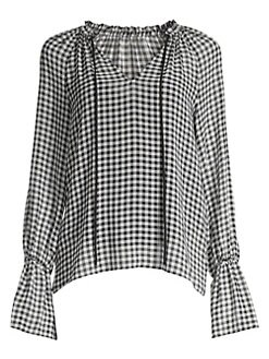 0b9d8a54e368d9 QUICK VIEW. Bailey 44. Cream Puff Bell-Sleeve Gingham Chiffon Blouse
