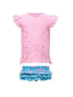 d4f32d85ba025 Snapper Rock - Baby Girl's Gold Star & Pink Flamingo Two-Piece Swim Set