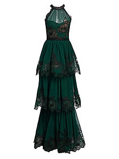 Marchesa Notte. Lace-Trimmed Tiered Gown c993025a3