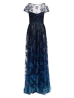 927fa083cd0b Marchesa Notte. Illusion Embroidered Floor-Length Gown
