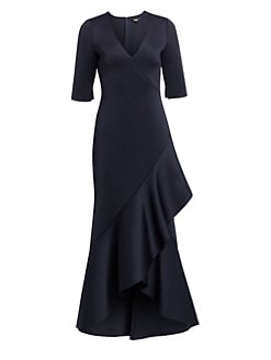 02efb4ab Badgley Mischka. Asymmetric Ruffled Scuba Gown