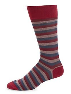 b10d51c22c4 Multicolor Stripe Pique Crew Socks RED. QUICK VIEW. Product image