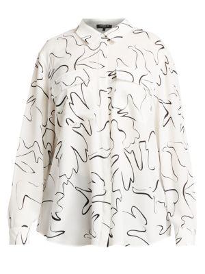 Lafayette 148 Tops Zora Scribble Print Silk Blouse