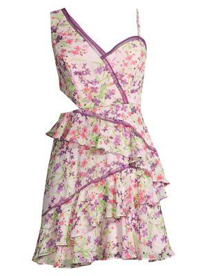 Bcbgmaxazria Dresses Asymmetric Floral Mini Dress