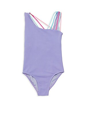 Image of Textured tank style swimsuit styled with multicolor straps that join at the back. Squareneck Pullover style Scoopback Nylon/elastane Hand wash Imported. Children's Wear - Contemporary Children. Little Peixoto. Color: Lavender. Size: 10.