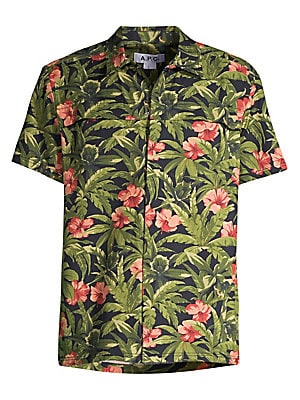 """Image of Bold floral and leave illustrations lend a gardenia effect to this shirt. Spread collar Short sleeves Button front Cotton Machine wash Imported SIZE & FIT About 28"""" from shoulder to hem. Men Adv Contemp - Trend Collections > Saks Fifth Avenue. A.P.C. Colo"""