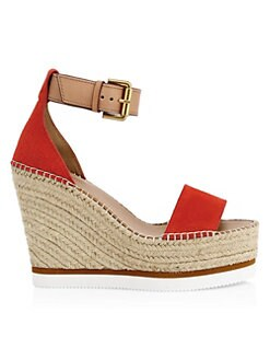 4b2b9544e2b47 See by Chloé. Leather Slingback Espadrille Platform Wedge Sandals