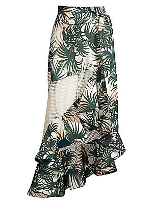 Palm Print Mesh Wrap Skirt by Pat Bo