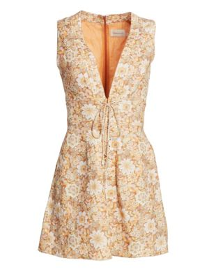 Zimmermann Dresses Zippy Floral Linen Mini Dress