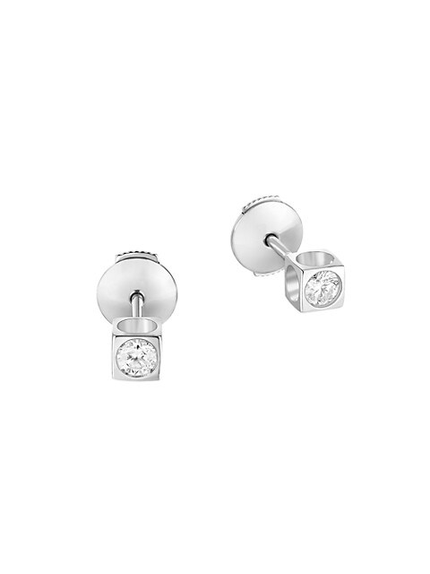 Le Cube 18K White Gold & Diamond Medium Stud Earrings