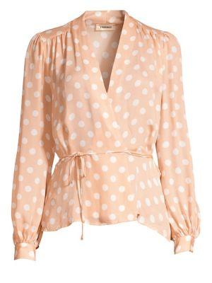 L'agence Tops Cara Silk Polka Dot Wrap Blouse