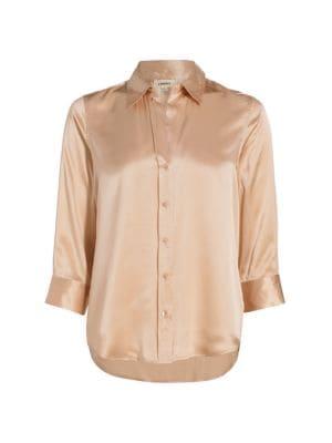 L'agence Tops Dani Silk Three-Quarter Sleeve Blouse