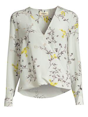 L'agence Tops Kyla Silk Floral Draped Blouse