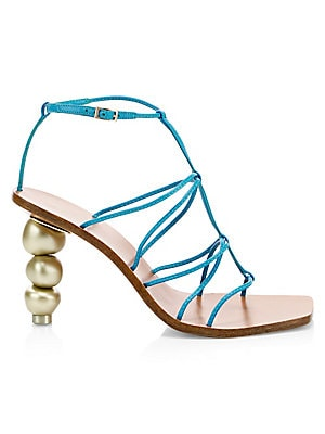 """Image of A stacked round heel gives a chic update to classic caged leather sandals. Leather upper Open toe Buckled ankle strap Leather lining Reconstituted sole Imported SIZE Stacked round goldtone heel, 3"""" (75mm). Women's Shoes - Contemporary Womens Shoe. Cult Ga"""