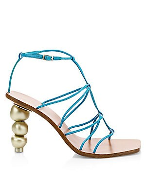 """Image of A stacked round heel gives a chic update to classic caged leather sandals. Leather upper Open toe Buckled ankle strap Leather lining Reconstituted sole Imported SIZE Stacked round goldtone heel, 3"""" (75mm). Women's Shoes - Contemporary Womens Shoe > Saks F"""