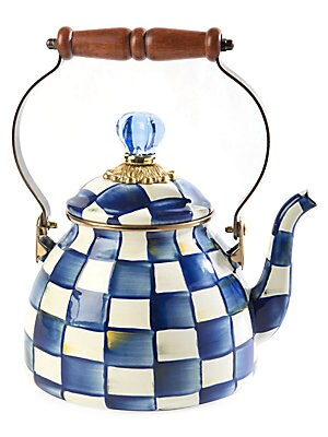 2 Quart Royal Check Tea Kettle by Mac Kenzie Childs