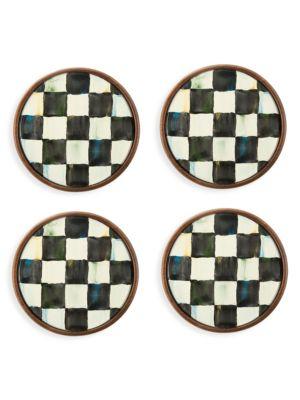 Courtly 4-Piece Handmade Check Coaster Set