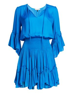 Halston Smocked Waist Ruffle Trim Dress