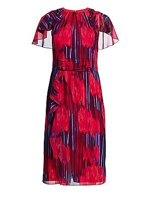 0c294533051 Halston Heritage - Flutter Short-Sleeve Printed Midi Dress - saks.com