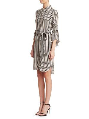 628e30772098 Halston Heritage Stripe Long-Sleeve Shirtdress