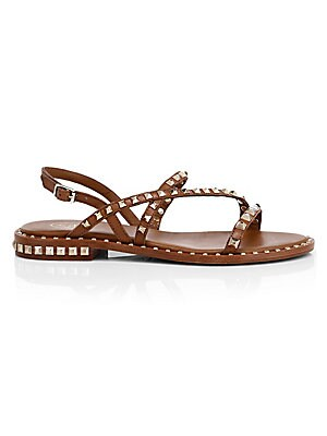 "Image of Bold studs adorn these strappy sandals for a contemporary boho aesthetic. Leather upper Open toe Adjustable ankle buckle closure Leather lining and sole Imported SIZE Leather block heel, 0.71"" (18mm). Women's Shoes - Contemporary Womens Shoe > Saks Fifth"