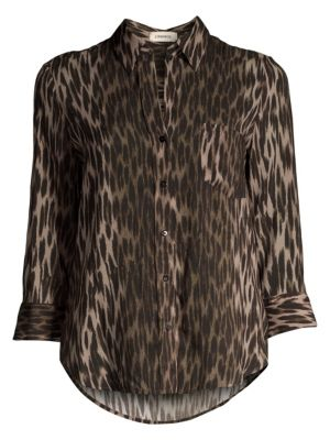 L Agence Ryan Leopard Three Quarter Sleeve Blouse