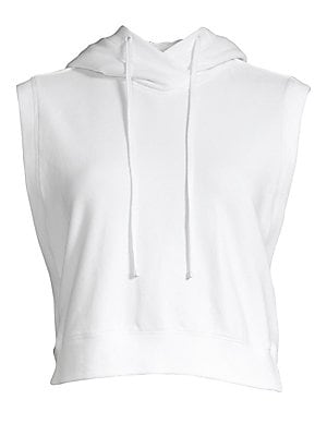 Image of Essential to your athleisure collection, this cotton stretch sleeveless hoodie boasts an on-trend cropped silhouette. Attached drawstring hood Sleeveless Pullover style Ribbed trim Cotton/spandex Machine wash Imported SIZE & FIT Cropped silhouette About 1