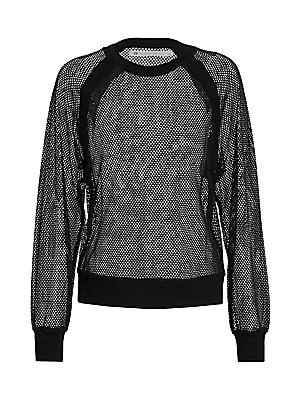 """Image of Mesh design adds a cool street aesthetic to sporty sweatshirt silhouette. Roundneck Long sleeves Pullover style Banded cuffs and hem Polyester/spandex Machine wash Imported SIZE & FIT Loose silhouette About 20.5"""" from shoulder to hem Model shown is 5'10"""""""
