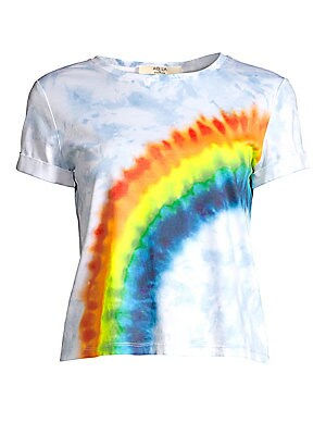 """Image of A tie-dyed rainbow wraps around this tee for a fun-loving silhouette. Crewneck Cap sleeves with rolled cuffs Pullover style Cotton Machine wash Imported SIZE & FIT About 24"""" from shoulder to hem Model shown is 5'10"""" (177cm) wearing a US size Small. Contem"""
