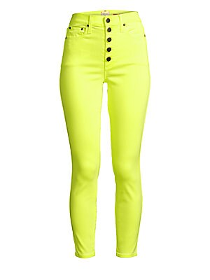 """Image of An arresting neon hue shades these button fly jeans for an eye-catching look. Belt loops Button fly Five-pocket style Lyocell/cotton/polyester/elastane Machine wash Made in USA SIZE & FIT High-rise skinny ankle silhouette Rise, about 11"""" Inseam, about 27"""""""