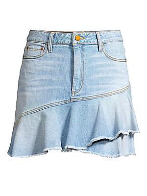 """Image of A flirty ruffle hem puts the finishing touch on this stretch-denim mini skirt. Belt loops Zip fly with button closure Five-pocket style Wrap flounce hem Cotton/elastane Machine wash Made in USA of Italian fabric SIZE & FIT Mini silhouette About 16"""" long M"""