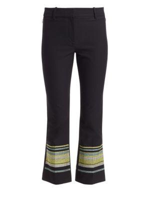 Derek Lam 10 Crosby Pants Embroidered Hem Cropped Flare Pants