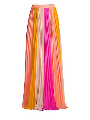 """Image of Bold colorblocking defines this elegant plissé pleated maxi skirt. Banded waist Concealed side zip close Plissé pleating Lined Recycled polyester Dry clean Imported SIZE & FIT A-line silhouette About 46"""" long Model shown is 5'10"""" (177cm) wearing a US size"""