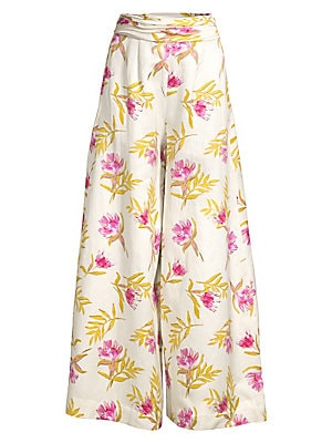 """Image of Chic wide-leg pants made from organic fabric in an airy floral print. Ruched waistband Side zipper Wide leg Organic linen/organic cotton Dry clean Imported SIZE & FIT Rise, about 16.5"""" Inseam, about 33"""" Leg opening, about 44"""" Model shown is 5'10 (177cm) w"""
